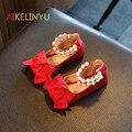 Meninas Nova Queda 2017 Outono Nova Da Menina de couro Liso Menina shoes crianças frisado princesa shoes bow red dancing shoes crianças sneakers