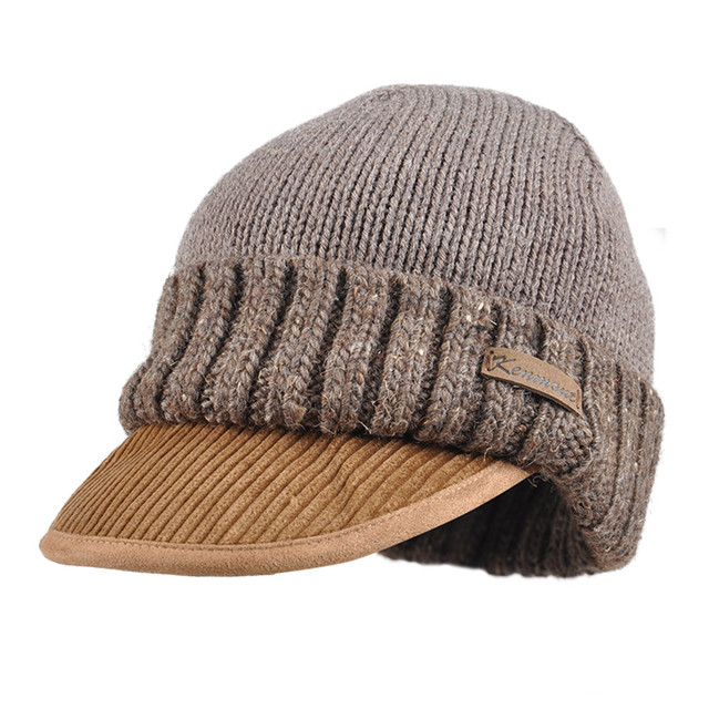 e03dd841c US $32.95 |New Kenmont Autumn Winter Men Alpaca Knitted Hat Corduroy Brim  Ski Earflap Beanie Skullies Cap Warm Christmas 1776-in Men's Skullies & ...