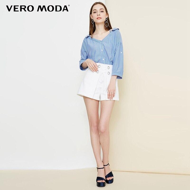 Vero Moda Women's Lace-Up Collar Stripe 3/4 Sleeves Shirt | 318331525