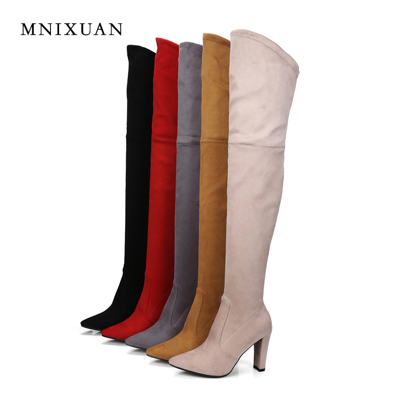 MNIXUAN sexy women winte boots over the knee thigh high boots 2018 suede pointed toe super high heels with zipper Elastic boots