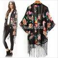 Novo quente das mulheres floral impresso cover up clothing cardigan shirt tops de manga curta