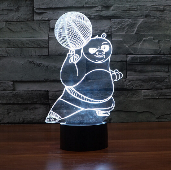 Hot NEW 7color changing 3D Bulbing Light Panda do Kung Fu OPortugal visual illusion LED  ...