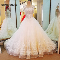 LS88430 ריינסטון חתונת שמלת תחרה כדור שמלת תחרה עד על שני תמונות אמיתיות robe de mariage שמלות כלה 2018 צדדים סין באינטרנט