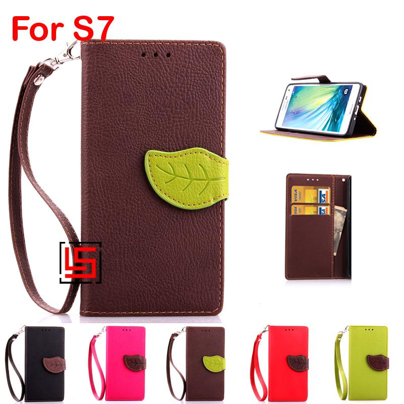 Leaf Clasp PU Leather Flip Book Wallet Phone Case capa cubierta Cover Bag Cove For Samsung Samsuns Samsug Galaxy S7 Brown Red