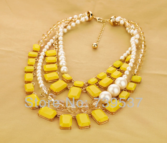 2017 Hot Selling Handmade Yellow Square Two Layers Necklace