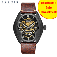 Parnis автоматические механические мужские часы 43 мм Череп Скелет мужские s часы светящийся циферблат сапфировое стекло Мужские наручные часы