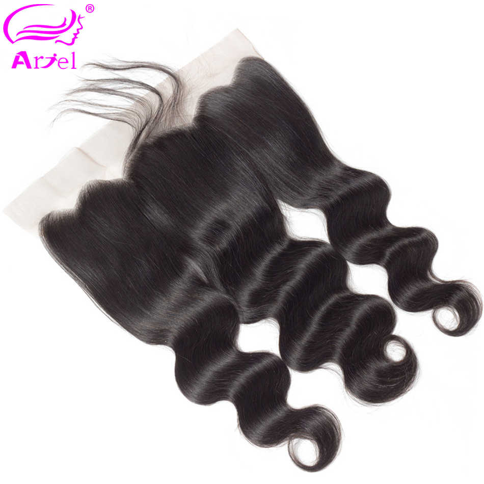 """Ariel Peruvian Body Wave Lace Frontal Closure With Baby Hair 100% Human Hair Non Remy 13x4 Ear To Ear Lace Frontal Closure 8-22"""""""