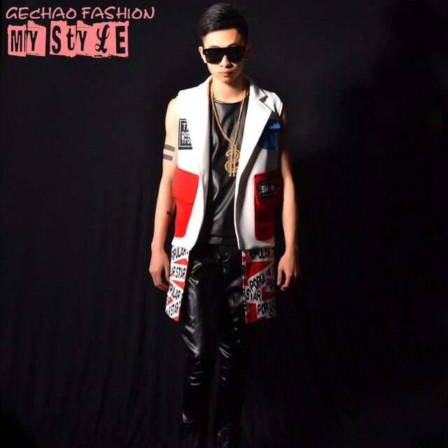 Мозаика мужской жилет stage мужской костюмы бар DS DJ костюмы для певцов для певица танцор звезда ночной клуб производительности шоу