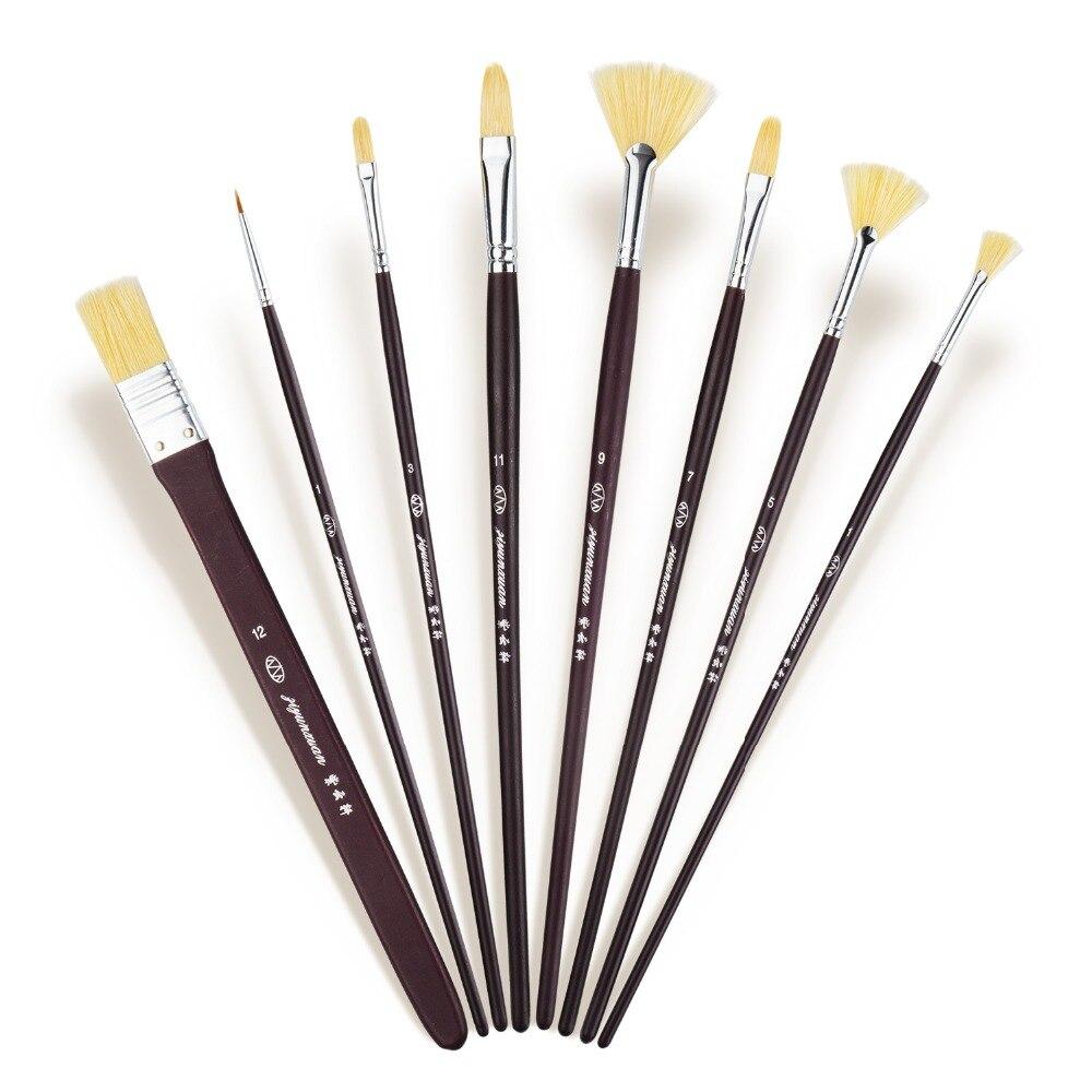 8 Pieces Long Handle Artist Paint Brush Nature Bristle Brushes with Case Oil & Acrylic Paint Brush Set 15 long art brush set nylon watercolor oil acrylic artist paint brushes come with long handle pop up stand