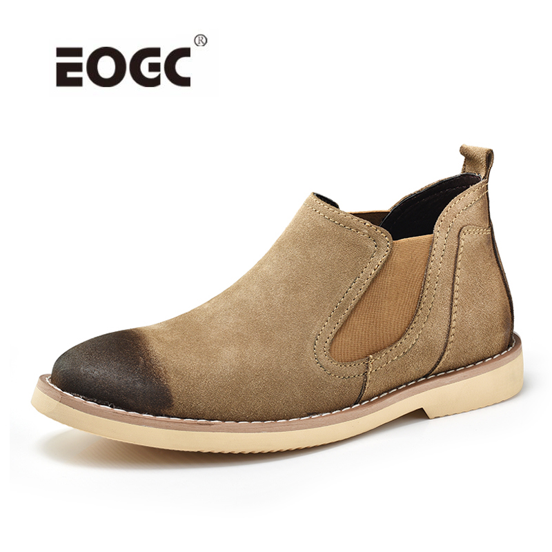 Fashion Suede Leather Autumn Shoes Men Waterproof Chelsea Boots Male Ankle Boots British Style Men Boots okhotcn vintage men chelsea boots genuine leather suede rome style man ankle boots zipper male casual buckle shoes sapato botas
