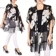 Hot Fashion Long Chiffon blouse open black kimono cardigans for Women Flower Prints Shirts Loose fringe blouse 35