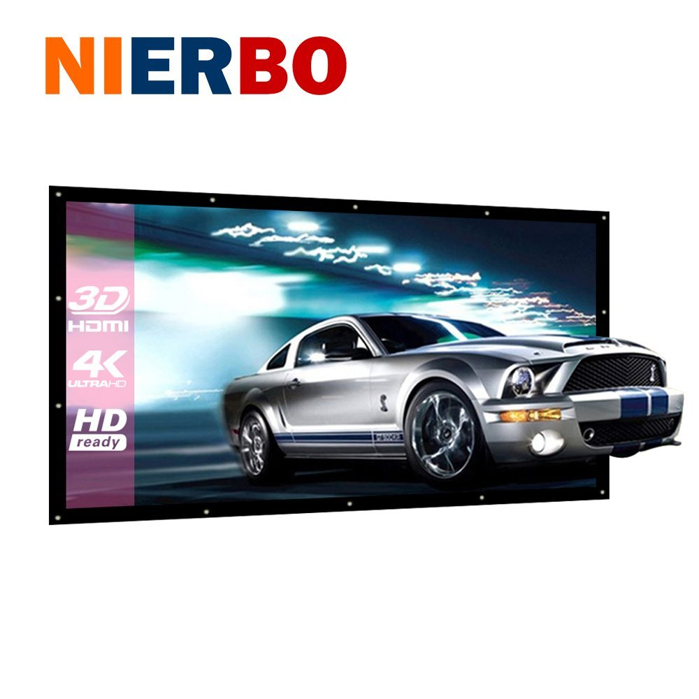 NIERBO 120 inch Projection Screen Portable Home Cinema Curtain 3D HD Video Beamer Screen Washable Canvas Wall Mounted Foldable diamond 200 electric white curtain electric curtain projection screen hd