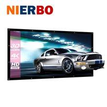 NIERBO 120 pulgadas Pantalla De Proyección Cortina de Pantalla 3D HD Proyector De Vídeo de Cine En Casa Portátil Montado En La Pared de Lona Lavable Plegable