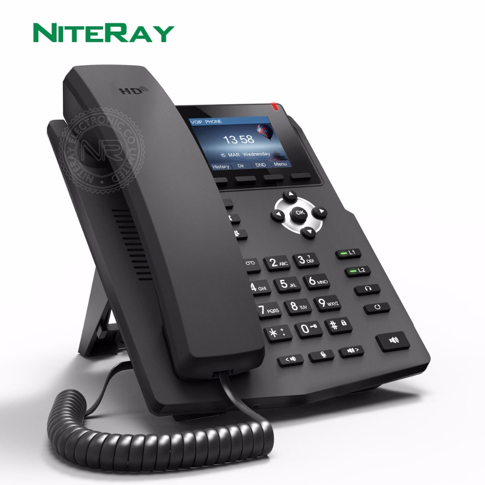 1 POE 2 SIP Lines Entry-level Business IP Phone,SIP Telephone With RJ9 Headset Interface NiteRay