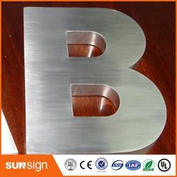 Letra de canal 3D de acero inoxidable cepillado