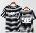 GOT7 KPOP Summer 2017 Korean version men women black Pink stripe Loose Cotton Tee Hedging Letters printed Short-sleeved T-shirt