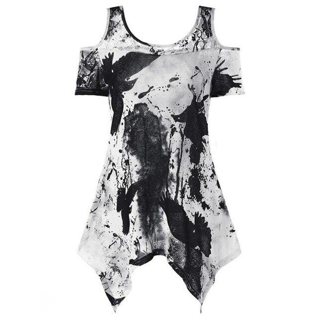 סקסי נשים כבויה כתף חולצה חולצה גדולה גודל פרחוני הדפסת טוניקת חולצה קצר שרוול מזדמן חולצות חולצה womans בגדים # GH