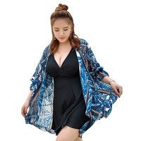2018 New Skirted One Piece Swimwear For Women Swimdress With Cover Ups Plus Size Large Cup