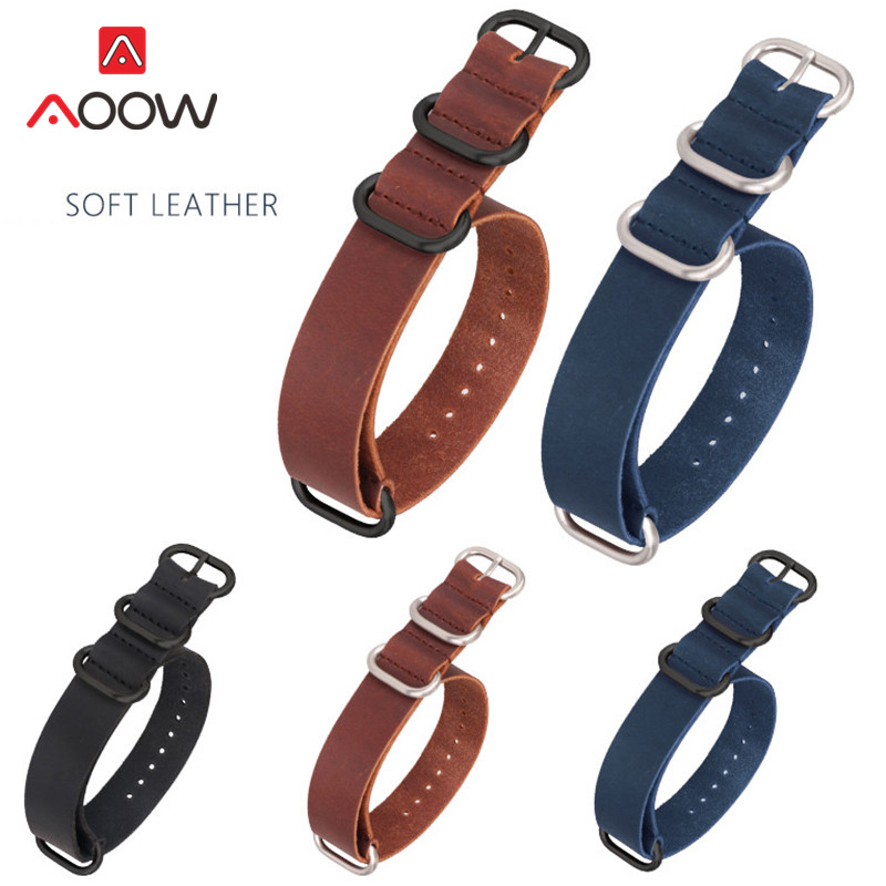 Genuine Leather Nato Strap 18mm 20mm 22mm 24mm Blue ZULU Watchband Ring Buckle Men Replacement Bracelet Band Watch Accessories