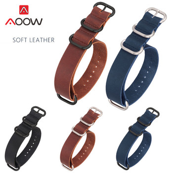 Genuine Leather Nato Strap 18mm 20mm 22mm 24mm Blue ZULU Watchband Ring Buckle Men Replacement Bracelet Band Watch Accessories for suunto core nylon diver watch strap band kit w lugs 5 ring pdv clasp 20 22 24mm zulu for nato g10 tools