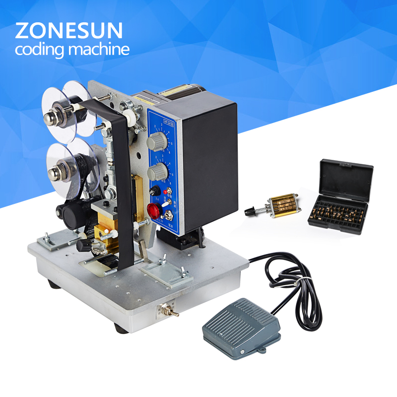 ZONESUN Easy to operate Semi-automatic Electric Coding Date Printer HP-241B Color Ribbon  Printing Machine  semi automatic electric hot stamp ribbon coding printer machine coder hp 241b