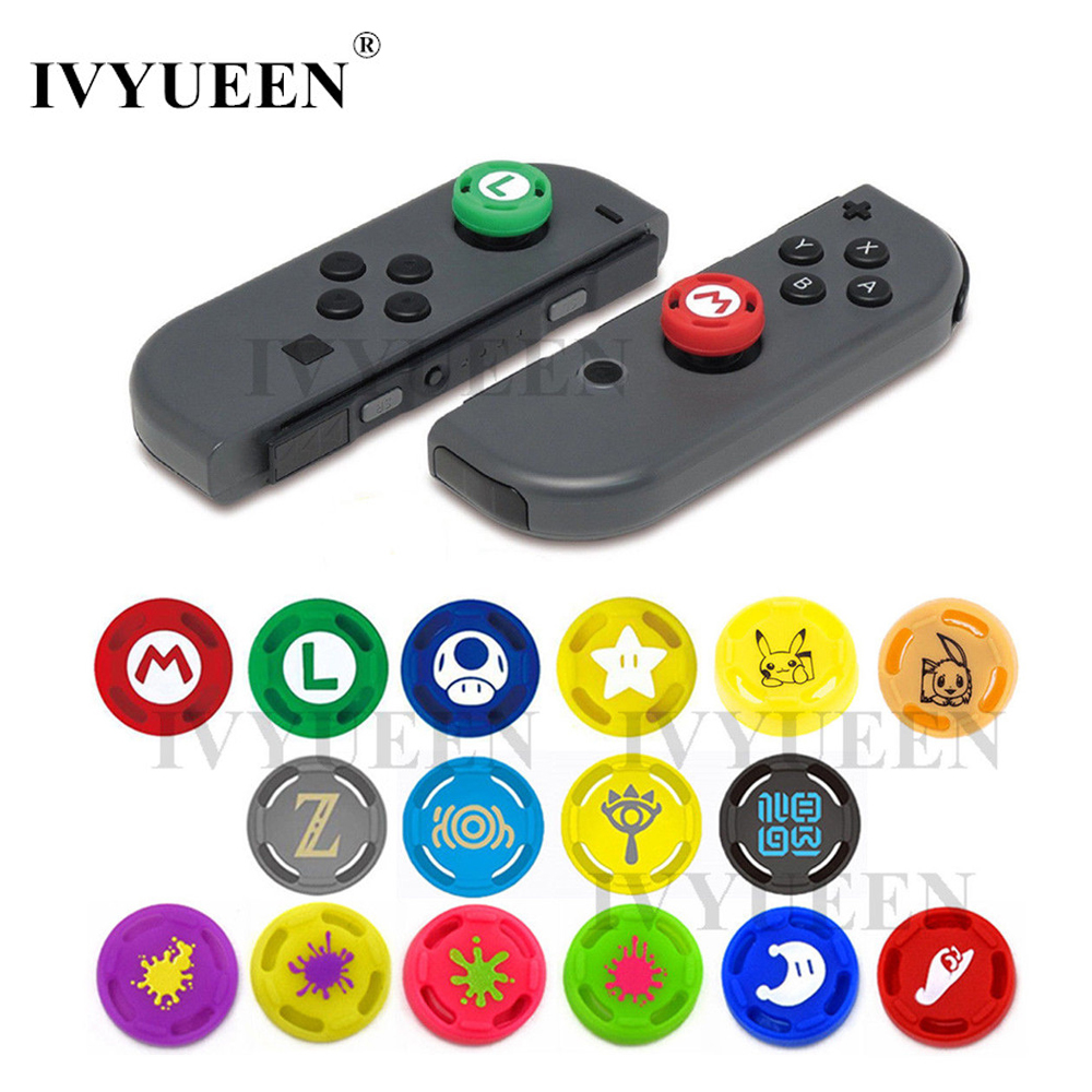 IVYUEEN 2 Pcs For Joy Con Silicone Joystick Thumb Grip Cover Case Analog Stick Caps For Nintend Switch NS Joy-Con Controller