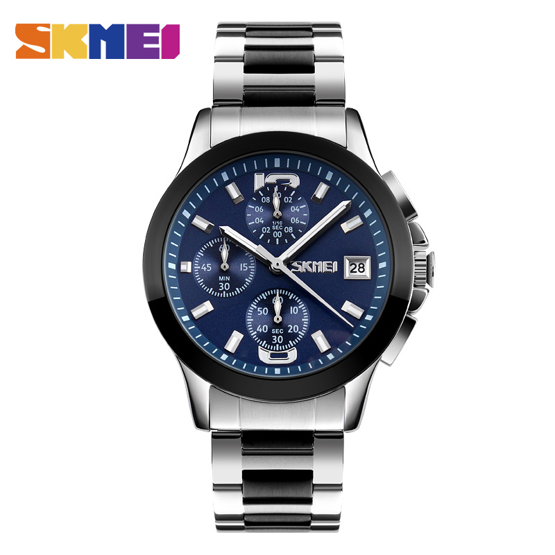 SKMEI Fashion Quartz Watch Waterproof Multi Dial Stop Watch Japan Movement Men Wristwatches Steel Band Montre Homme Erkek Saat skmei blue led watch with round dial silicon watch band