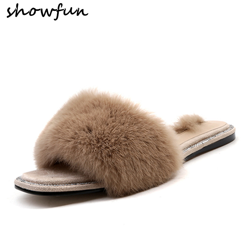 Womens rabbit fur slip-on summer flats slides brand designer open toe sheepskin insole leisure comfortable fashion shoes sandal