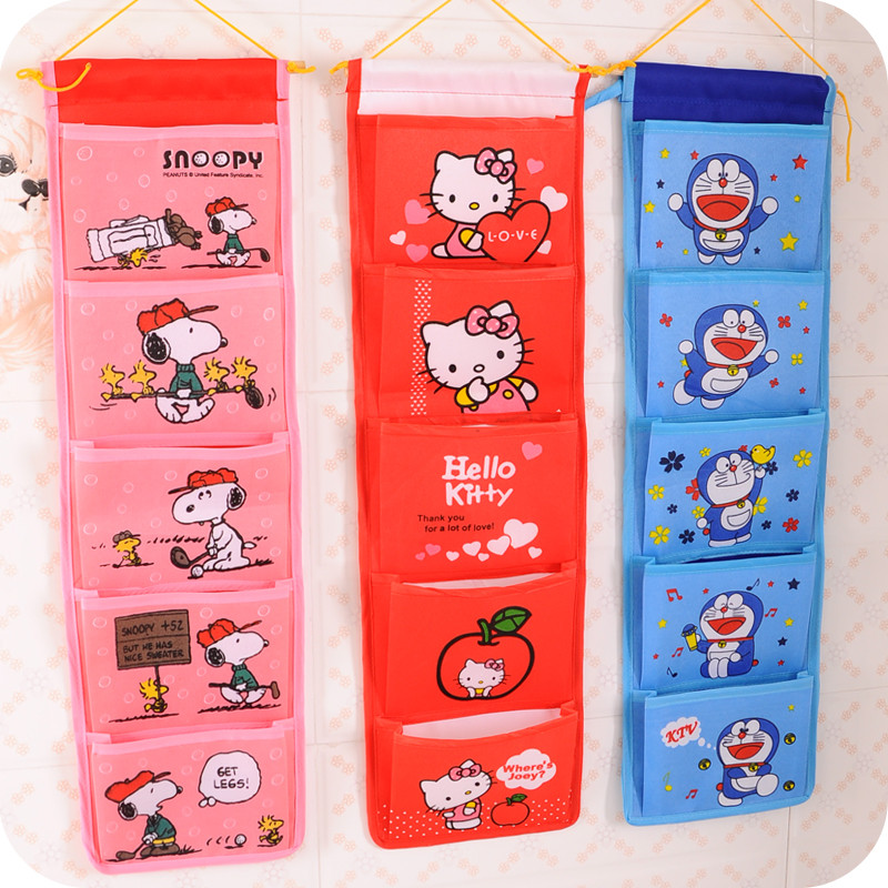 Cartoon Multifunctional Storage Bag Fashion Organizer Hanging Storage Pouch Bags Case for Door Bathroom Free Shipping