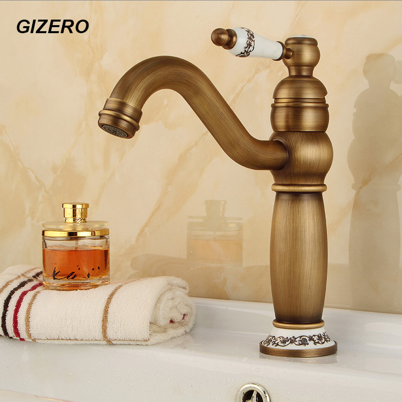 Bathroom Luxury Ceramic Faucet Solid Brass Antique Finish Basin Sink Mixer Water Tap torneira para banheiro ZR142 bathroom sink faucet in vintage antique brass finish water waterfall tap for bathroom torneira para de banheiro misturador