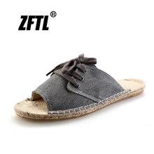 ZFTL New Men Slippers Grass woven slippers male beach handmade man summer shoes non-slip sandals 2019  075