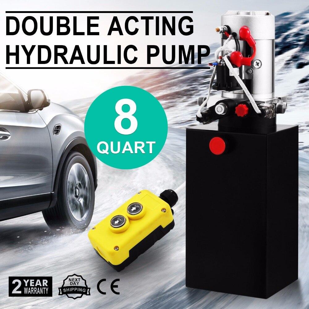 6 Quart Single Action Dump Trailer Pump 12VDC Hydraulic Power Unit, SAE #6 Ports, 3200 Max PSI, 280 Amps, 2.0 GPM