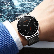 2018 New CADISEN Brand Fashion Watch Men Luxury Mesh Strap And Leather Bracelet Wristwatch Men's Ultra Thin Dial Quartz Watch
