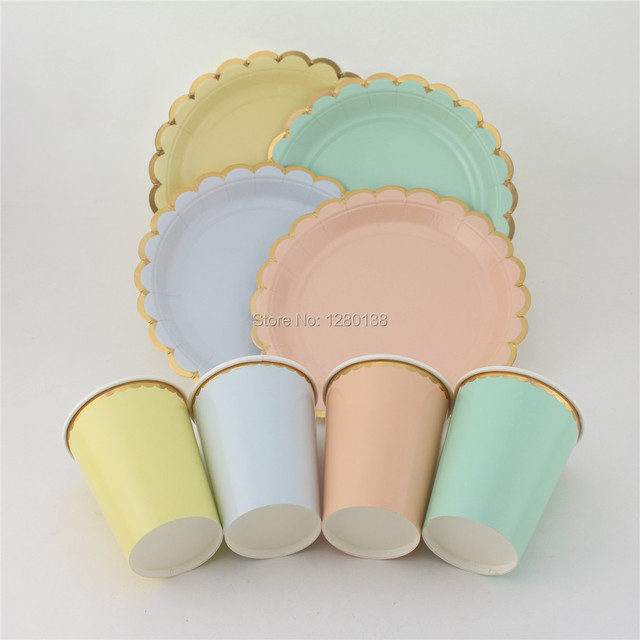 Pastel Canape Paper Plates Party Tea Paper Cups with Gold Edge Pink Blue Mint Yellow Event & Pastel Canape Paper Plates Party Tea Paper Cups with Gold Edge Pink ...