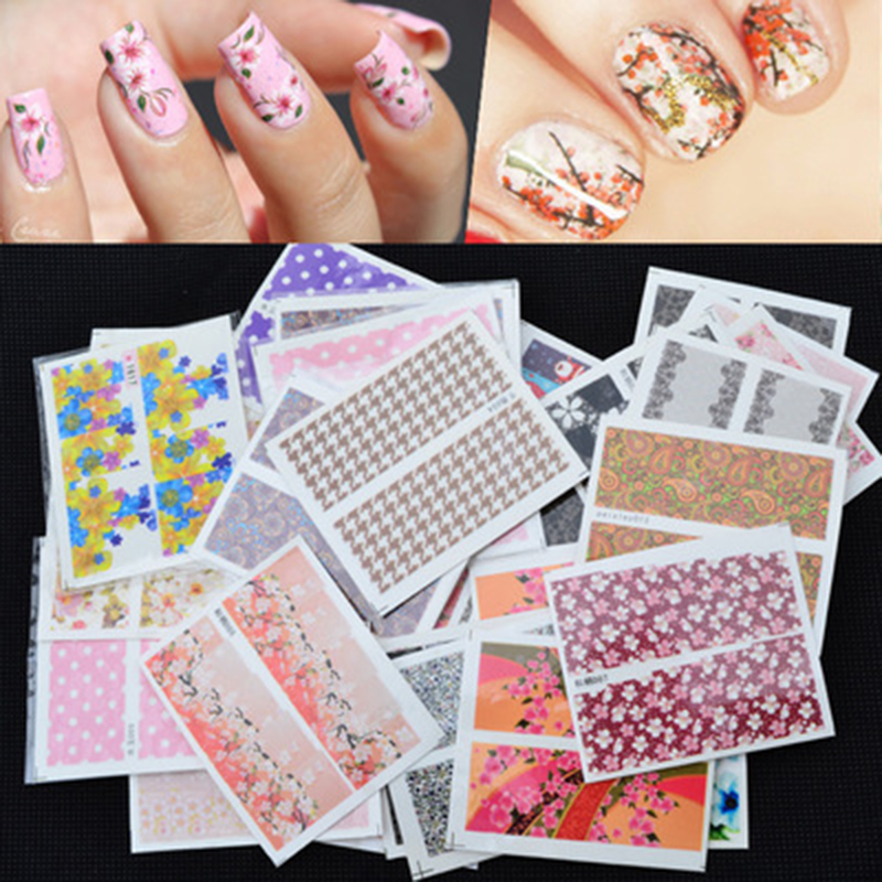 Mix 50pcs pack Nail Art Water Transfer Flower Design Nail Sticker Watermark Decals DIY Beauty Nail Tips Decoration Wraps Tools in Stickers Decals from Beauty Health