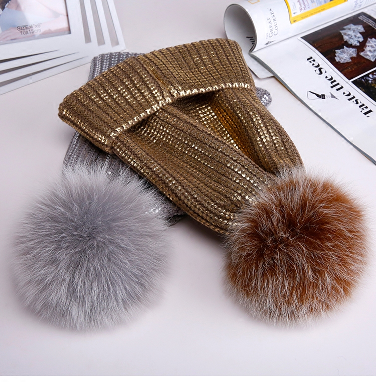 Winter Autumn Pom Pom Beanies Hat Women Knitted Wool Skullies Casual Cap Real Raccoon Fur Pompom Hats hat female rabbit fur ball pompon wool knitted women s hip hop warm casual women winter hats beanies cap6a44