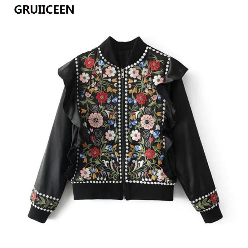Gruiiceen Ruches De Casual Mode Sg Floral Manteau Survêtement Noir Veste Perles Printemps Femmes Broderie 0819402 2018 TlJcKF1