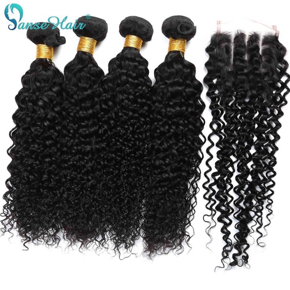 Brazilian Virgin Hair Kinky göndör hajszövés 3 csomó vászon 1 - Emberi haj (fekete)