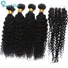 Brasiliansk Virgin Hair Kinky Curly Hair Weaving 3 Bundlar Weft Med 1 PC Closure 4X4 Anpassad 8 till 28 tums Non Remy
