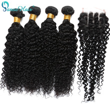 Curly Hair Closure Kinky 3-Bundles Brazilian Weaving 8-To-28-Inches Weft with 1-Pc Customized