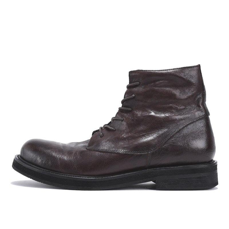 Рабочие ботинки из натуральной кожи в стиле ретро; мужские зимние кроссовки на шнуровке; роскошные кроссовки в британском стиле с высоким берцем; ботинки для верховой езды; повседневная обувь - 2