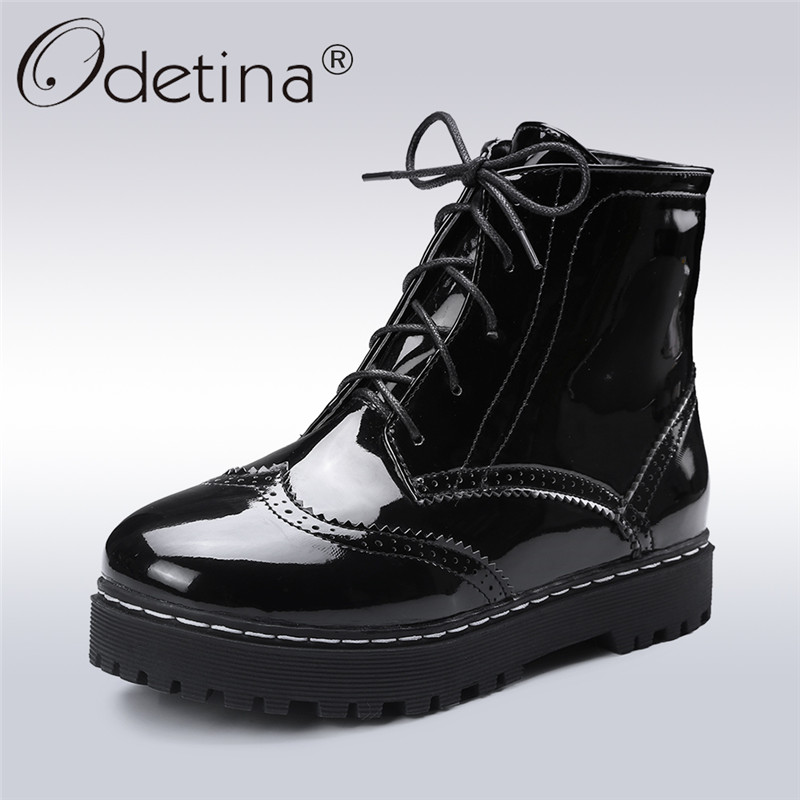 Odetina 2017 Autumn Winter Fashion Women Brogue Boots Flat Lace Up Platform Ankle Boots Patent Leather Casual Shoes Big Size 45 odetina fashion genuine leather ankle boots flat woman round toe platform lace up boots autumn winter casual shoes big size 43