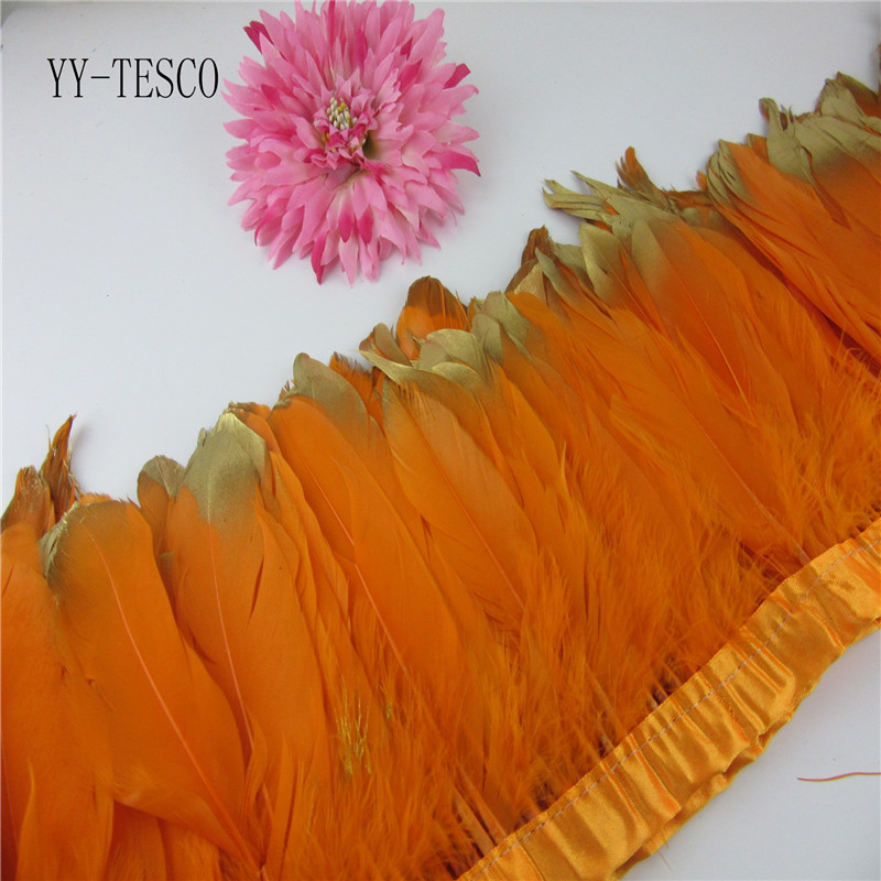 Fashion Gold Tips Goose feather trims 2-10yards Orange Dyed geese feather ribbons /15-20cm Duck feather fringes Free shipping