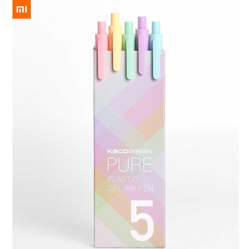 最新 xiaomi Kaco マカロンキャンディーカラー 5 個のカラフルなペン 0.5 ミリメートル黒インク滑らかな書き耐久性 mi 署名ペン