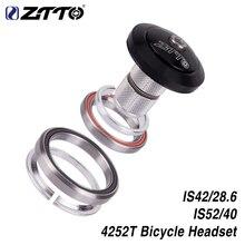 """ZTTO 4252T MTB rower szosowy zestaw słuchawkowy 42mm 52mm CNC 1 1/8 """" 1 1/2"""" stożkowe rury widelec zintegrowane łożysko skośne"""