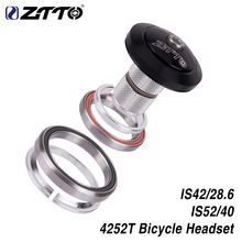 """Ztto 4252t mtb bicicleta de estrada, headset de bicicleta 42mm 52mm cnc 1 1/8 """" 1 1/2"""" rolamento angular integrado do contato"""