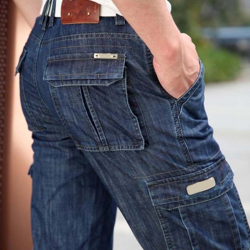 New Baggy Jeans Men Cargo Pants Autumn Winter Overall Loose Straight More Pocket Jeans Fashion Casual Man Trousers Bottoms