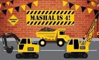 custom Construction Flag Birthday Crane Truck Red Brick Wall backdrop Computer print party background