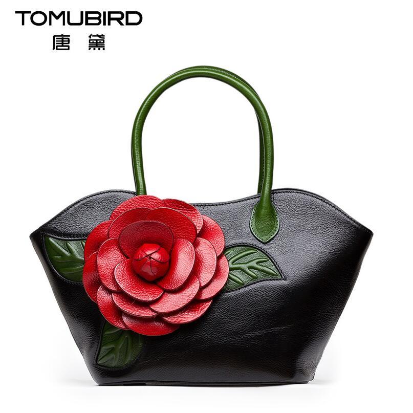 2017 New women genuine leather bag famous brands quality leather handmade dimensional flowers women handbags bag