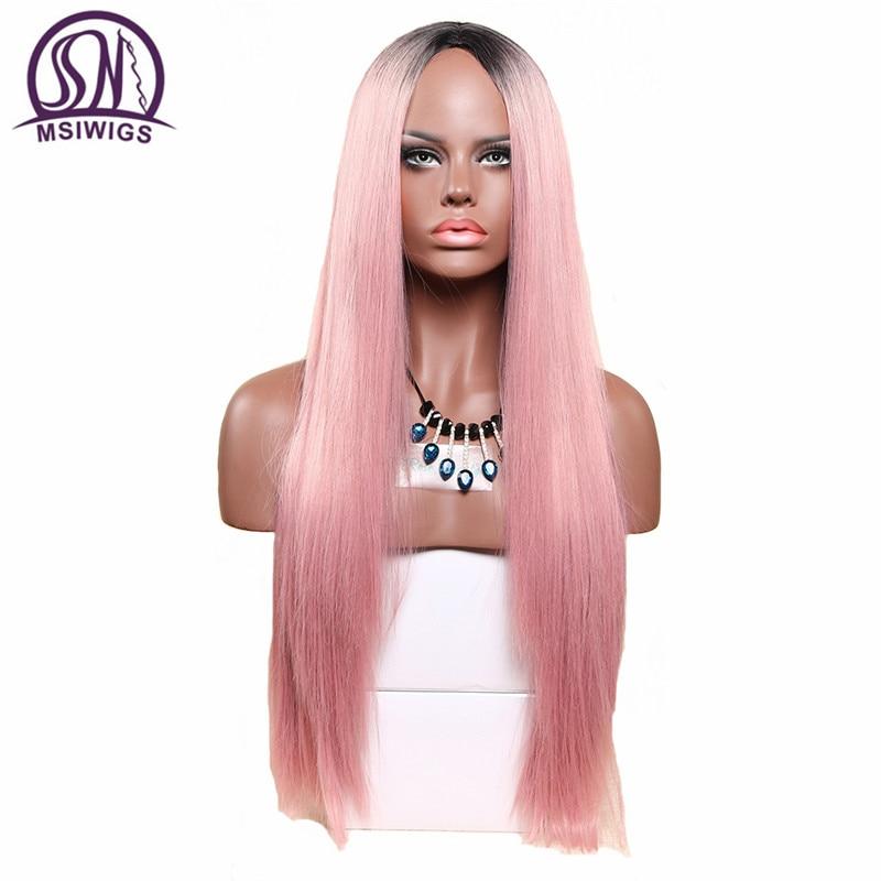 MSIWIGS 26 Pouces Long Deux Tons Rose Perruque Blonde Droite Synthétique Perruques pour les Femmes Résistant À La Chaleur Naturelle Ombre Cheveux